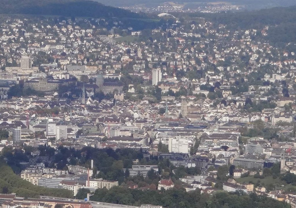 The two towers of the Grossmünster, the green spire of the Fraumünster and one of the huge clock faces of St Peter's can be seen from the top of Uetliberg on a good day